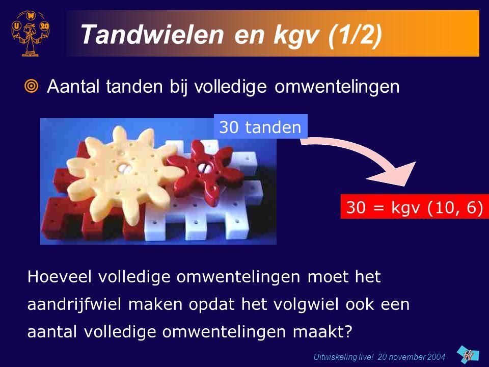 Uitwiskeling live! 20 november 2004 Tandwielen en kgv (1/2)  Aantal tanden bij volledige omwentelingen Hoeveel volledige omwentelingen moet het aandr
