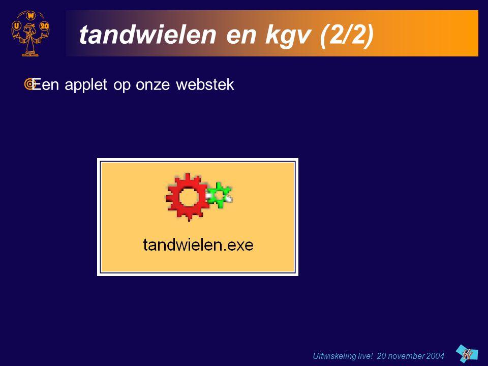 Uitwiskeling live! 20 november 2004 tandwielen en kgv (2/2)  Een applet op onze webstek