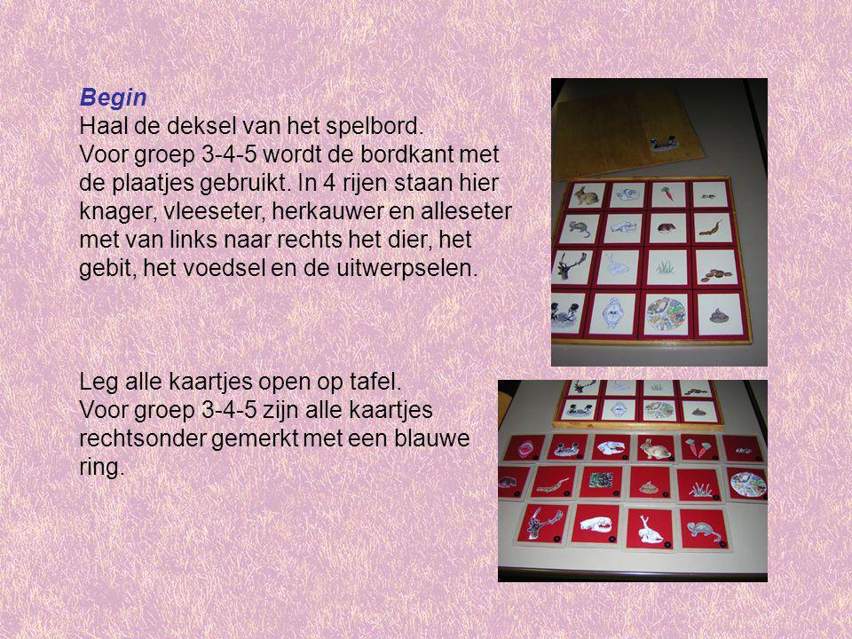 Begin Haal de deksel van het spelbord. Voor groep 3-4-5 wordt de bordkant met de plaatjes gebruikt. In 4 rijen staan hier knager, vleeseter, herkauwer