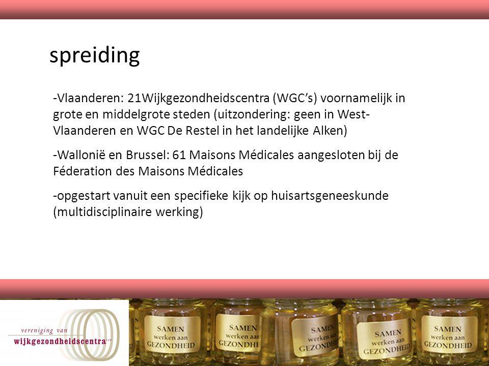 spreiding -Vlaanderen: 21Wijkgezondheidscentra (WGC's) voornamelijk in grote en middelgrote steden (uitzondering: geen in West- Vlaanderen en WGC De R