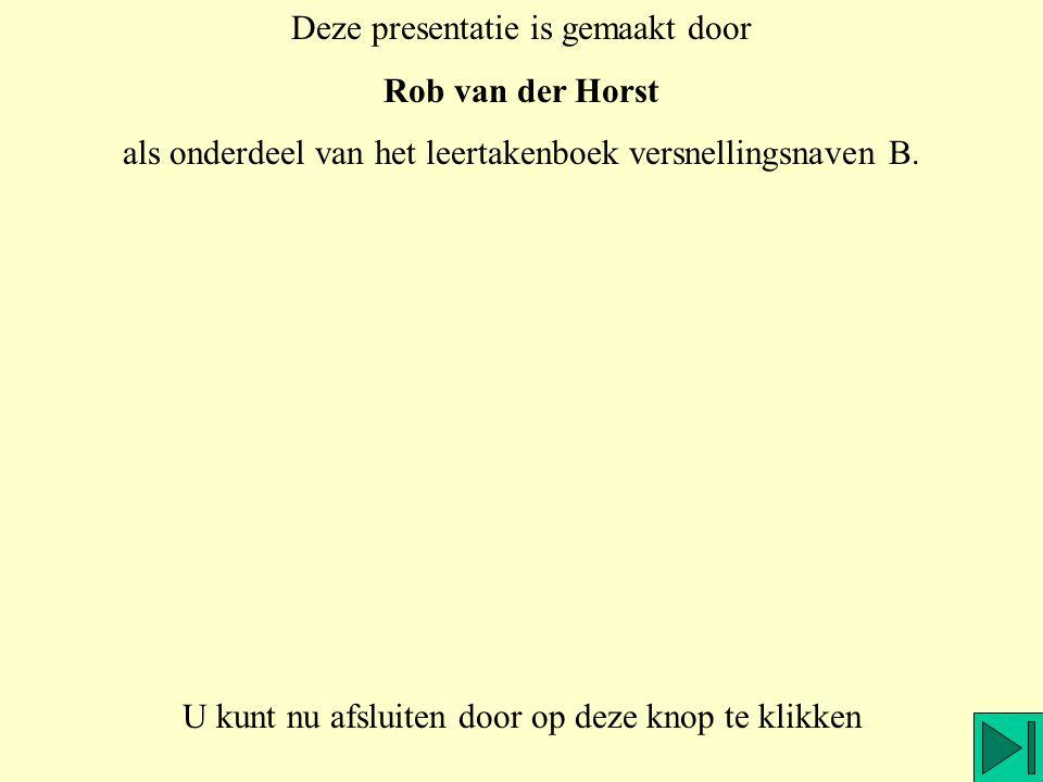 Deze presentatie is gemaakt door Rob van der Horst als onderdeel van het leertakenboek versnellingsnaven B. U kunt nu afsluiten door op deze knop te k