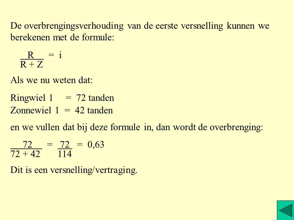 De overbrengingsverhouding van de eerste versnelling kunnen we berekenen met de formule: R = i R + Z Als we nu weten dat: Ringwiel 1 = 72 tanden Zonnewiel 1 = 42 tanden en we vullen dat bij deze formule in, dan wordt de overbrenging: 72 = 72 = 0,63 72 + 42 114 Dit is een versnelling/vertraging.