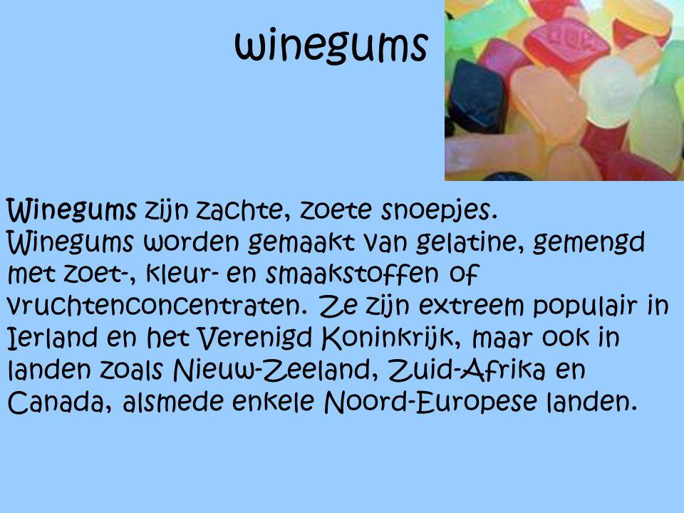 winegums Winegums zijn zachte, zoete snoepjes. Winegums worden gemaakt van gelatine, gemengd met zoet-, kleur- en smaakstoffen of vruchtenconcentraten
