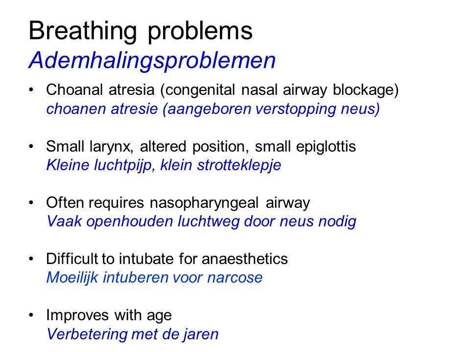 Breathing problems Ademhalingsproblemen Choanal atresia (congenital nasal airway blockage) choanen atresie (aangeboren verstopping neus) Small larynx,
