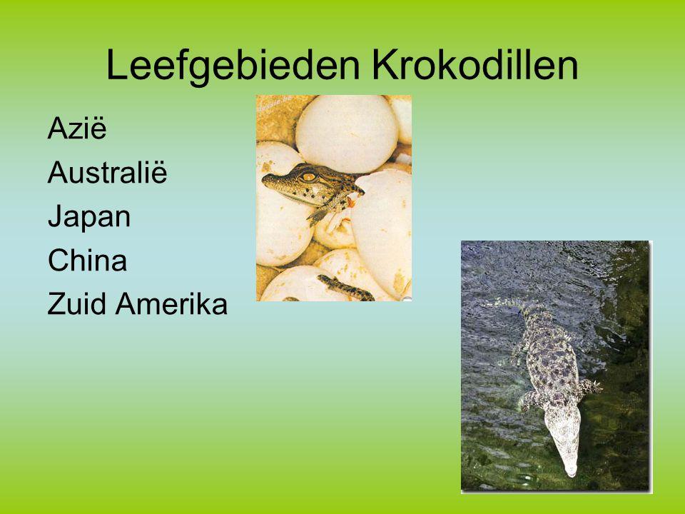 Leefgebieden Krokodillen Azië Australië Japan China Zuid Amerika