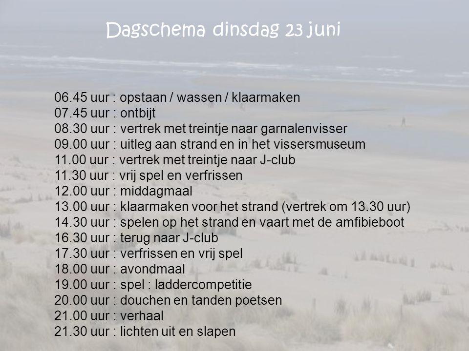 Dagschema dinsdag 23 juni 06.45 uur : opstaan / wassen / klaarmaken 07.45 uur : ontbijt 08.30 uur : vertrek met treintje naar garnalenvisser 09.00 uur