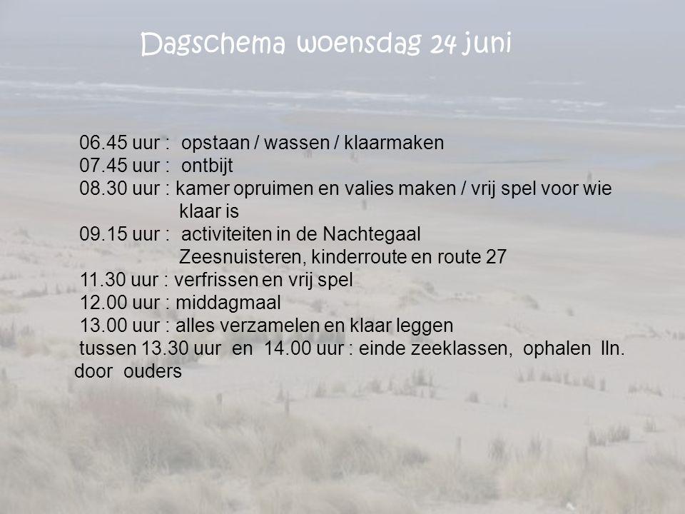 Dagschema woensdag 24 juni 06.45 uur : opstaan / wassen / klaarmaken 07.45 uur : ontbijt 08.30 uur : kamer opruimen en valies maken / vrij spel voor w