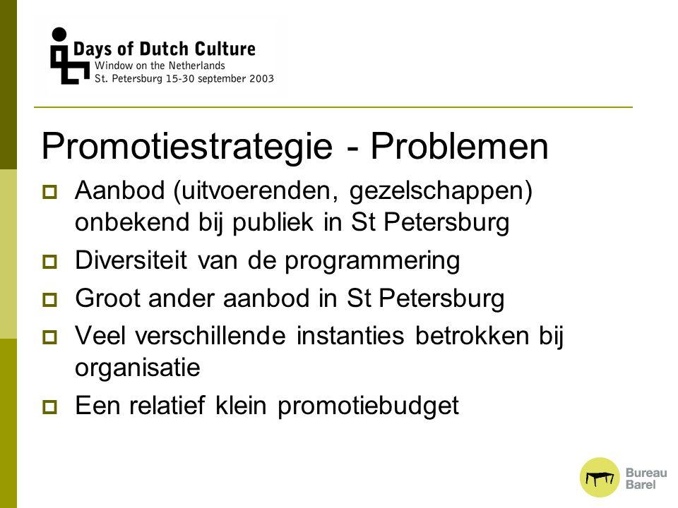 Promotiestrategie - Problemen  Aanbod (uitvoerenden, gezelschappen) onbekend bij publiek in St Petersburg  Diversiteit van de programmering  Groot
