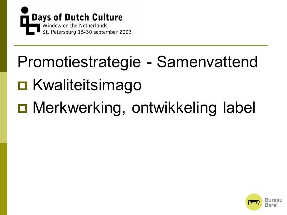 Promotiestrategie - Samenvattend  Kwaliteitsimago  Merkwerking, ontwikkeling label