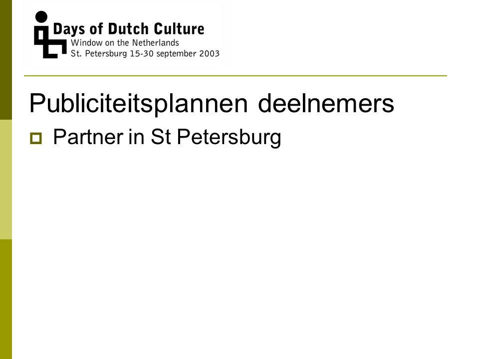 Publiciteitsplannen deelnemers  Partner in St Petersburg