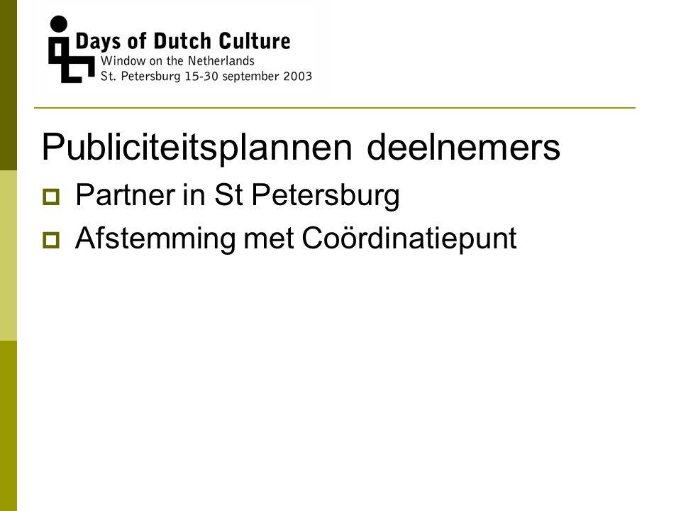 Publiciteitsplannen deelnemers  Partner in St Petersburg  Afstemming met Coördinatiepunt