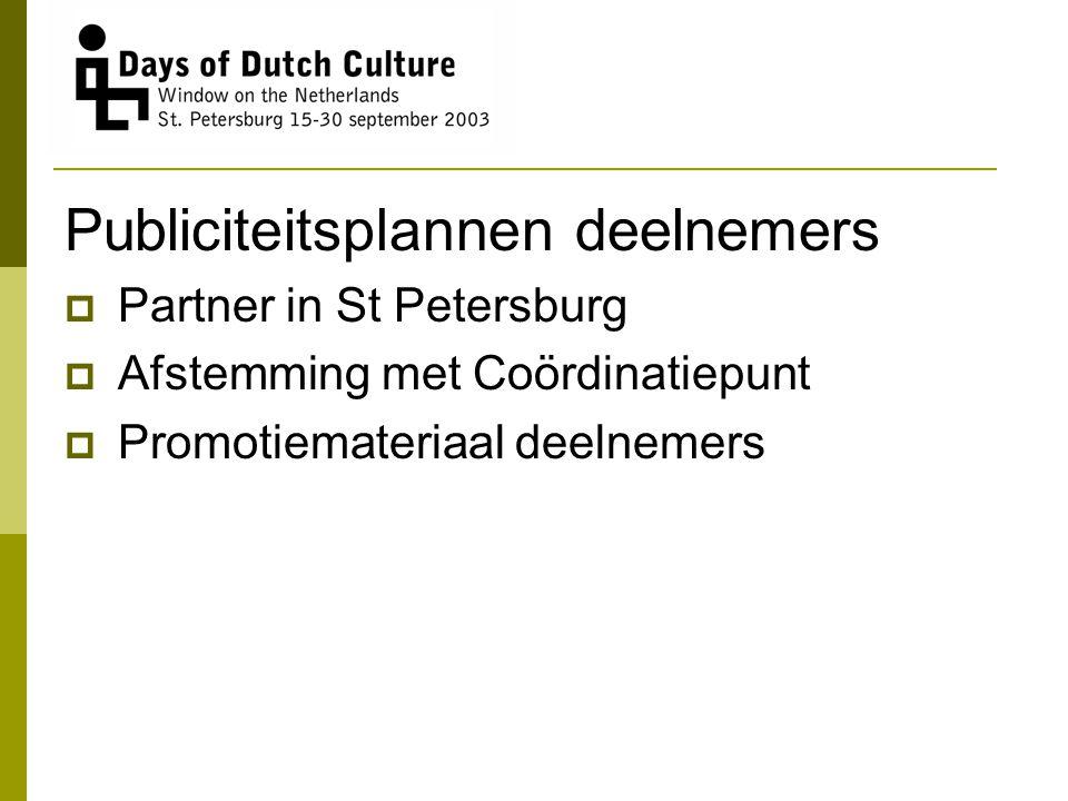 Publiciteitsplannen deelnemers  Partner in St Petersburg  Afstemming met Coördinatiepunt  Promotiemateriaal deelnemers