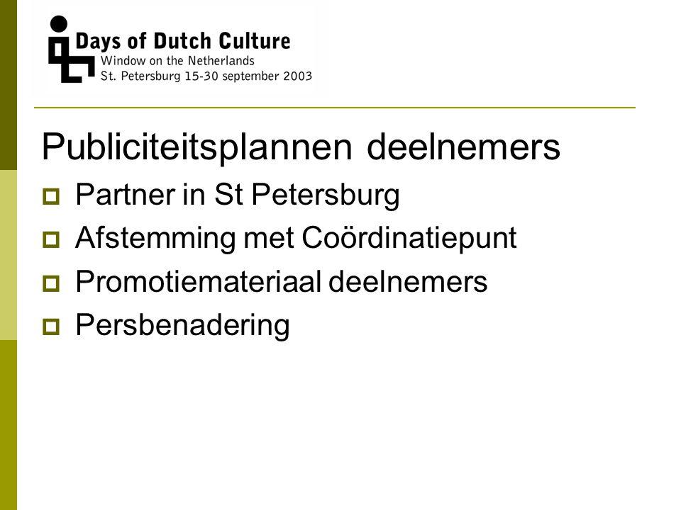 Publiciteitsplannen deelnemers  Partner in St Petersburg  Afstemming met Coördinatiepunt  Promotiemateriaal deelnemers  Persbenadering