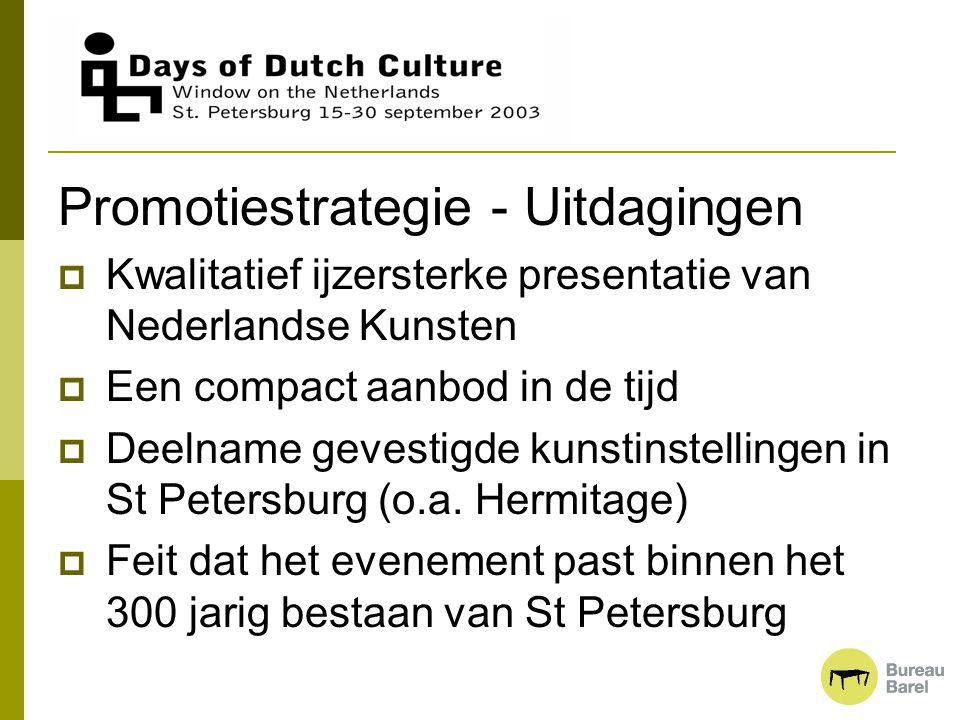 Promotiestrategie - Uitdagingen  Kwalitatief ijzersterke presentatie van Nederlandse Kunsten  Een compact aanbod in de tijd  Deelname gevestigde ku