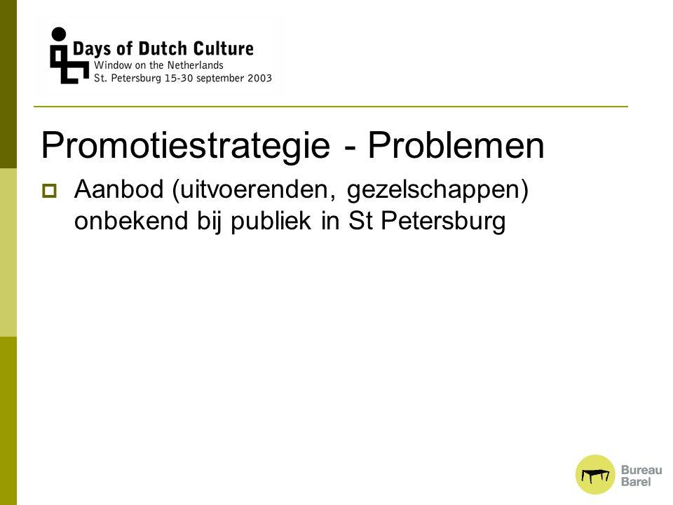 Promotiestrategie - Problemen  Aanbod (uitvoerenden, gezelschappen) onbekend bij publiek in St Petersburg