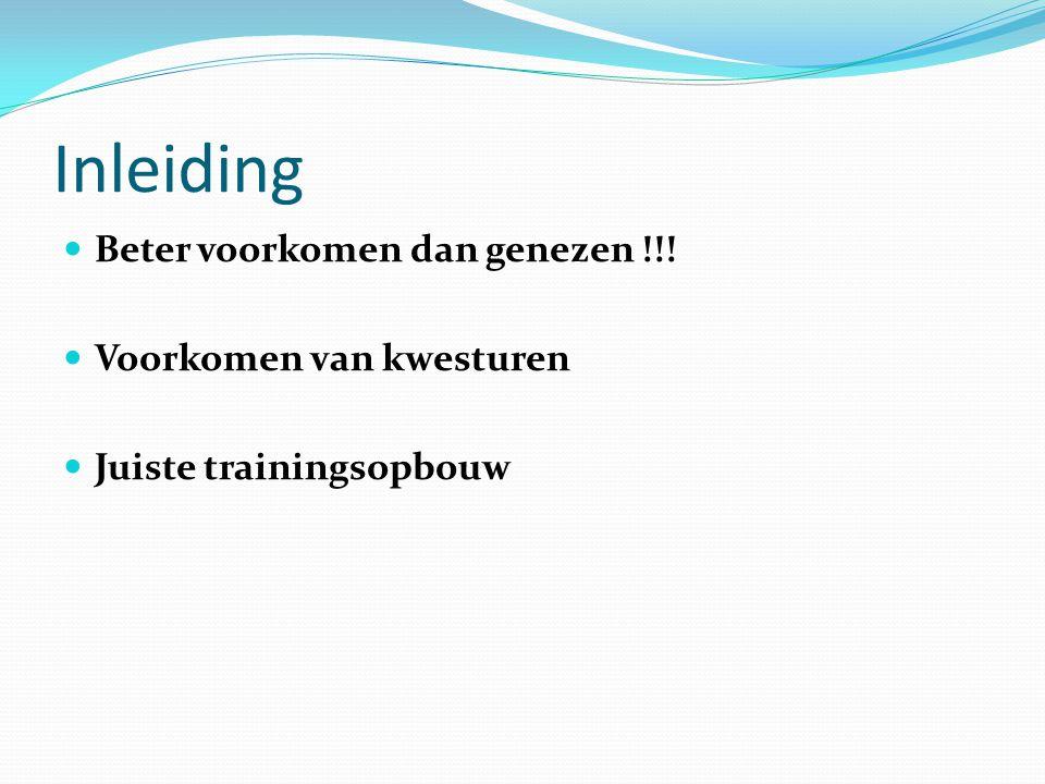 Inleiding Beter voorkomen dan genezen !!! Voorkomen van kwesturen Juiste trainingsopbouw