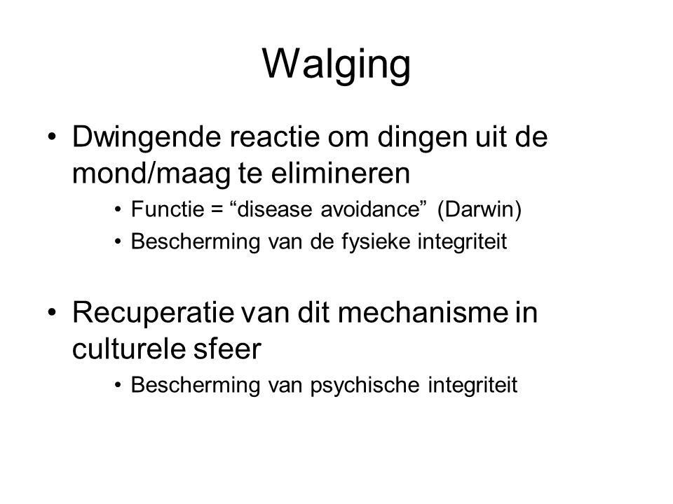 """Walging Dwingende reactie om dingen uit de mond/maag te elimineren Functie = """"disease avoidance"""" (Darwin) Bescherming van de fysieke integriteit Recup"""