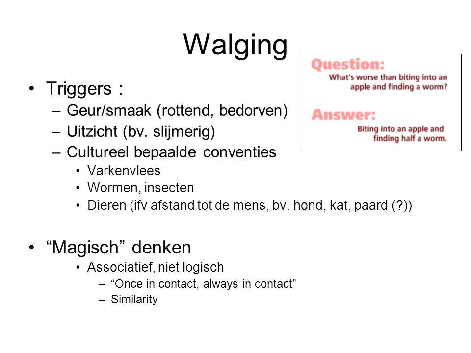 Walging Triggers : –Geur/smaak (rottend, bedorven) –Uitzicht (bv. slijmerig) –Cultureel bepaalde conventies Varkenvlees Wormen, insecten Dieren (ifv a