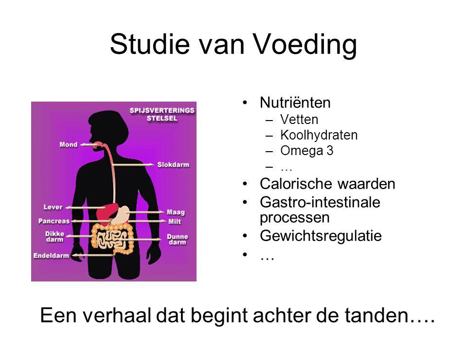 Studie van Voeding Nutriënten –Vetten –Koolhydraten –Omega 3 –… Calorische waarden Gastro-intestinale processen Gewichtsregulatie … Een verhaal dat be