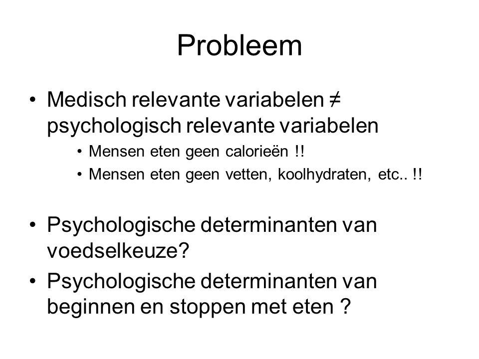 Probleem Medisch relevante variabelen ≠ psychologisch relevante variabelen Mensen eten geen calorieën !! Mensen eten geen vetten, koolhydraten, etc..