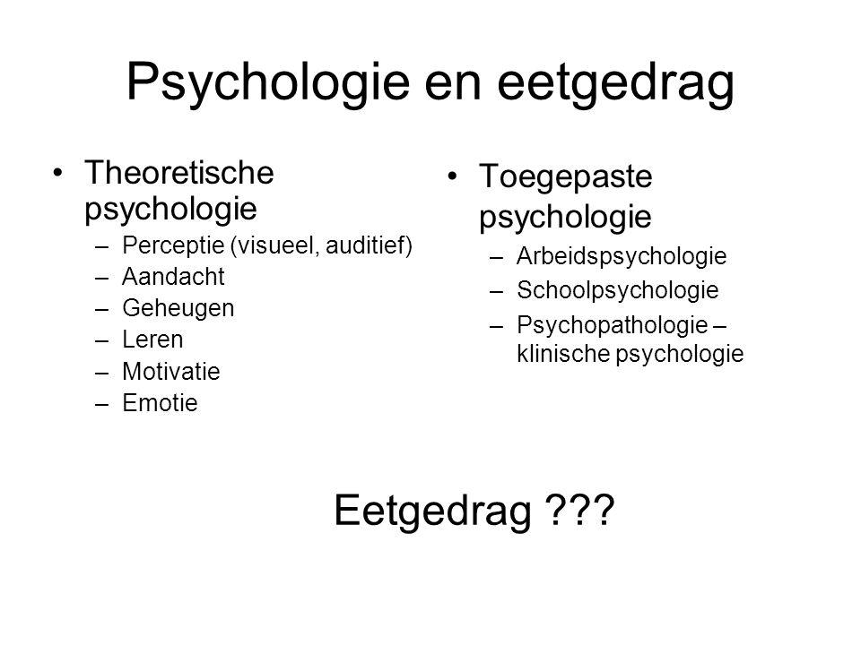 Psychologie en eetgedrag Theoretische psychologie –Perceptie (visueel, auditief) –Aandacht –Geheugen –Leren –Motivatie –Emotie Toegepaste psychologie