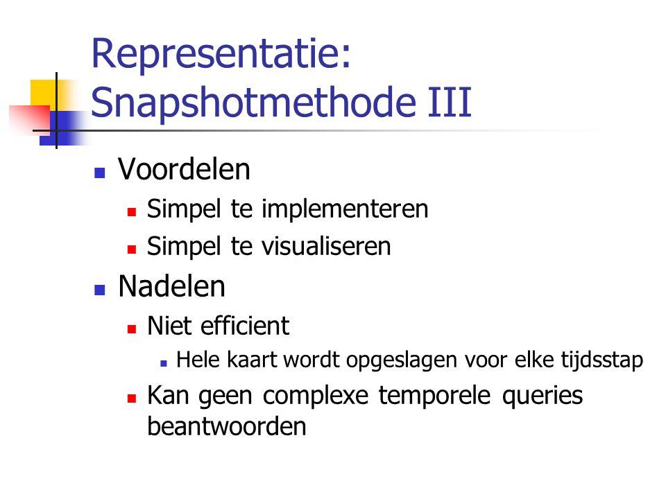 Representatie: Snapshotmethode III Voordelen Simpel te implementeren Simpel te visualiseren Nadelen Niet efficient Hele kaart wordt opgeslagen voor elke tijdsstap Kan geen complexe temporele queries beantwoorden
