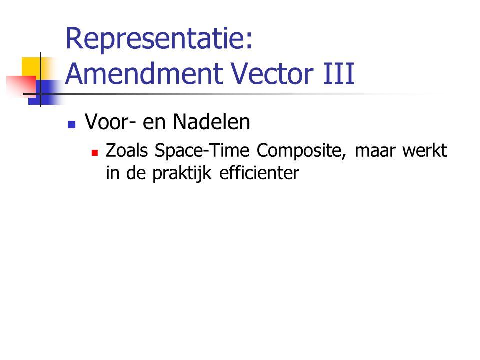 Representatie: Amendment Vector III Voor- en Nadelen Zoals Space-Time Composite, maar werkt in de praktijk efficienter