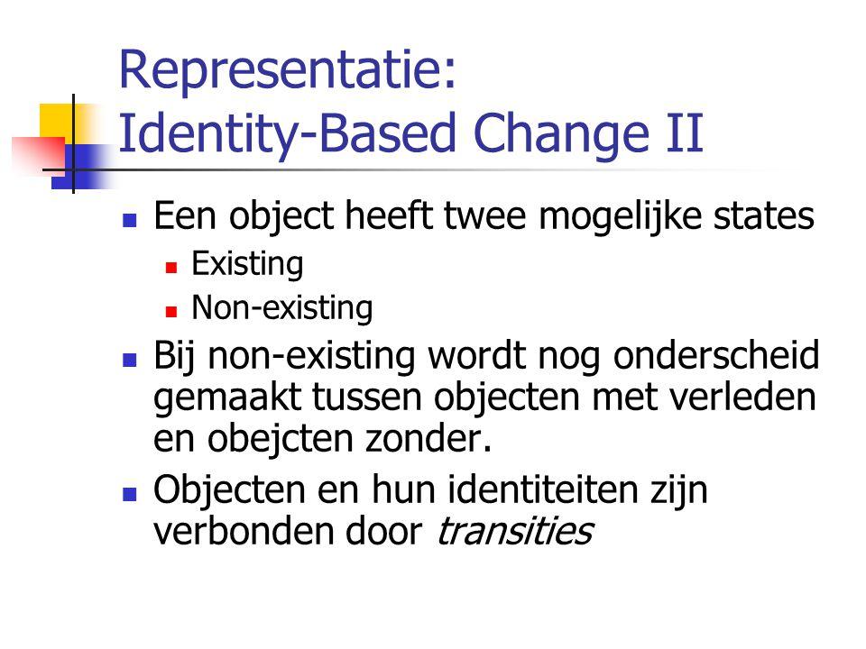 Representatie: Identity-Based Change II Een object heeft twee mogelijke states Existing Non-existing Bij non-existing wordt nog onderscheid gemaakt tussen objecten met verleden en obejcten zonder.