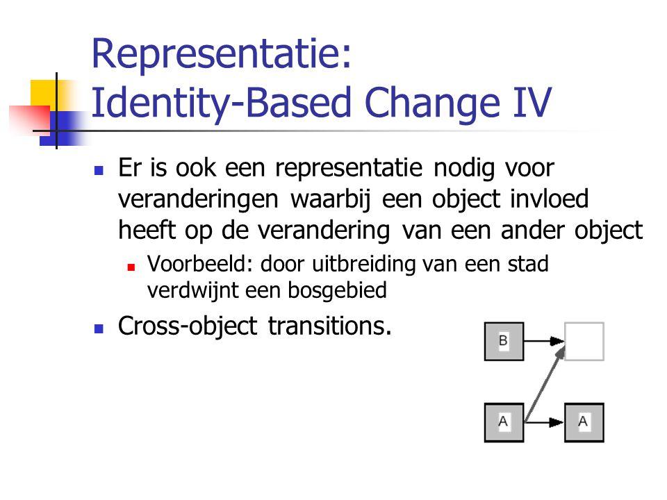Representatie: Identity-Based Change IV Er is ook een representatie nodig voor veranderingen waarbij een object invloed heeft op de verandering van een ander object Voorbeeld: door uitbreiding van een stad verdwijnt een bosgebied Cross-object transitions.