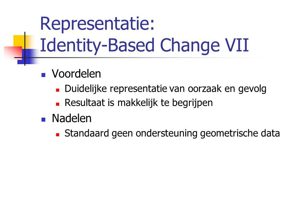 Representatie: Identity-Based Change VII Voordelen Duidelijke representatie van oorzaak en gevolg Resultaat is makkelijk te begrijpen Nadelen Standaard geen ondersteuning geometrische data