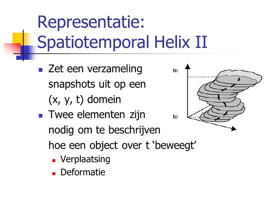 Representatie: Spatiotemporal Helix II Zet een verzameling snapshots uit op een (x, y, t) domein Twee elementen zijn nodig om te beschrijven hoe een object over t 'beweegt' Verplaatsing Deformatie