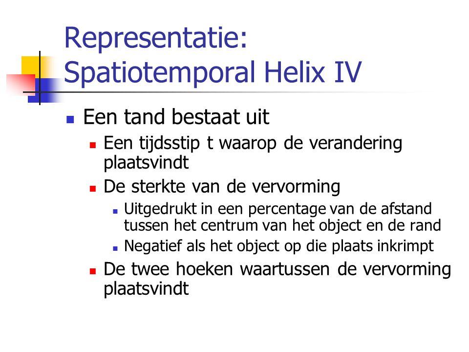 Representatie: Spatiotemporal Helix IV Een tand bestaat uit Een tijdsstip t waarop de verandering plaatsvindt De sterkte van de vervorming Uitgedrukt in een percentage van de afstand tussen het centrum van het object en de rand Negatief als het object op die plaats inkrimpt De twee hoeken waartussen de vervorming plaatsvindt