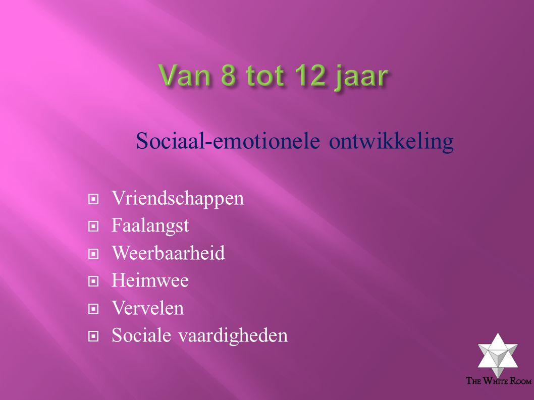 Sociaal-emotionele ontwikkeling  Vriendschappen  Faalangst  Weerbaarheid  Heimwee  Vervelen  Sociale vaardigheden