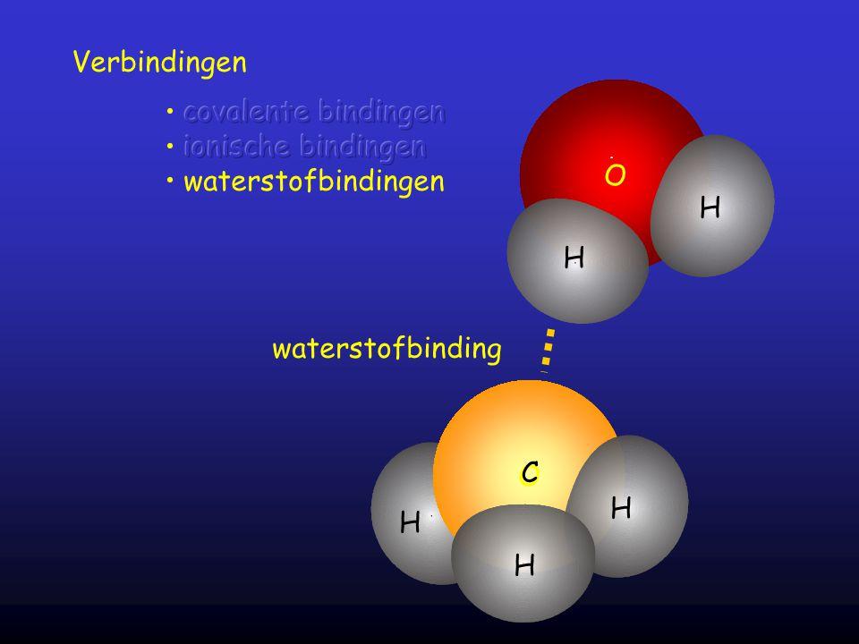 Verbindingen O H H O H C H H waterstofbinding