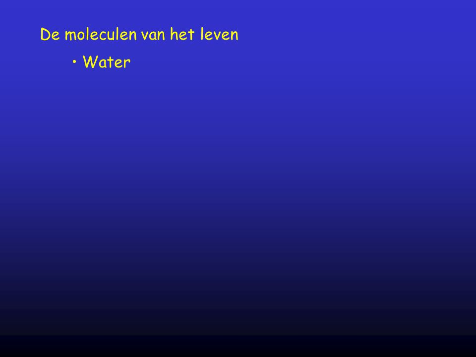 De moleculen van het leven Water
