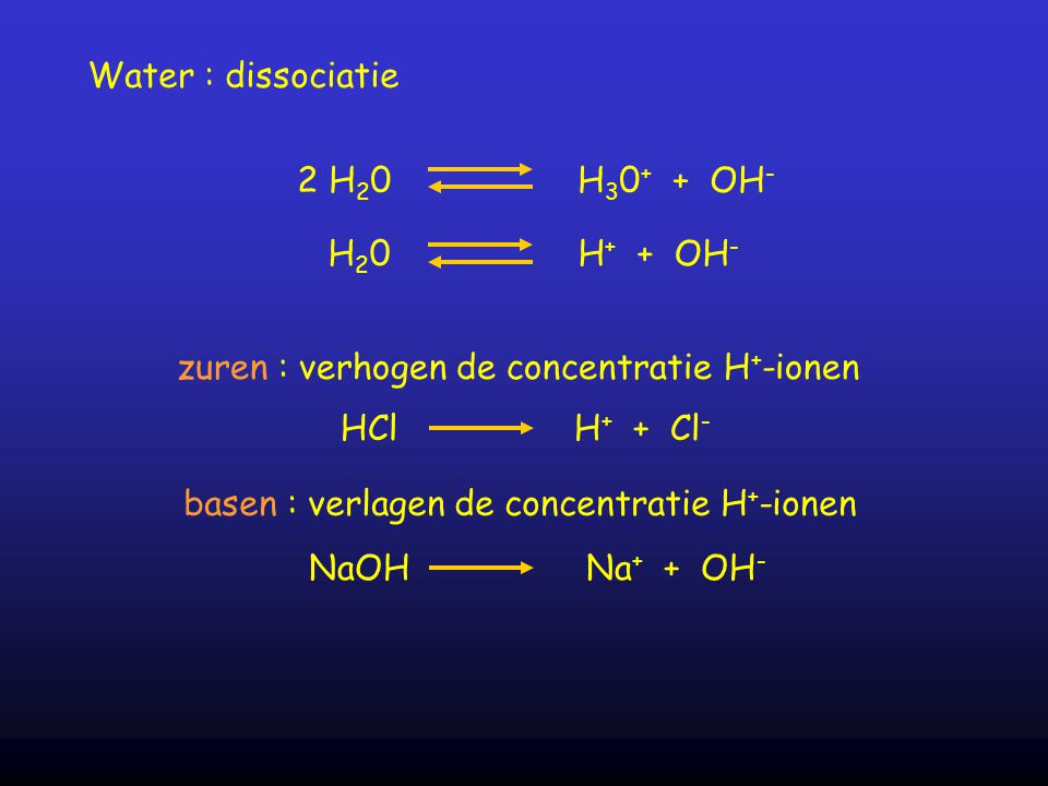 Water : dissociatie 2 H 2 0 H 3 0 + + OH - H 2 0 H + + OH - zuren : verhogen de concentratie H + -ionen HCl H + + Cl - basen : verlagen de concentrati