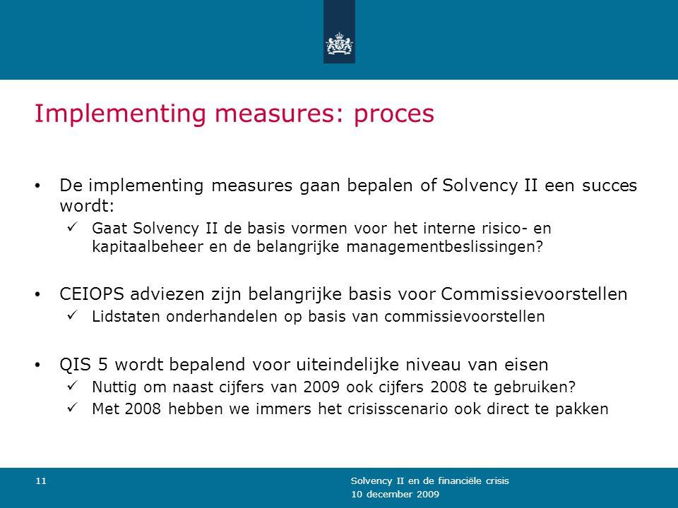 10 december 2009 Solvency II en de financiële crisis11 Implementing measures: proces De implementing measures gaan bepalen of Solvency II een succes w