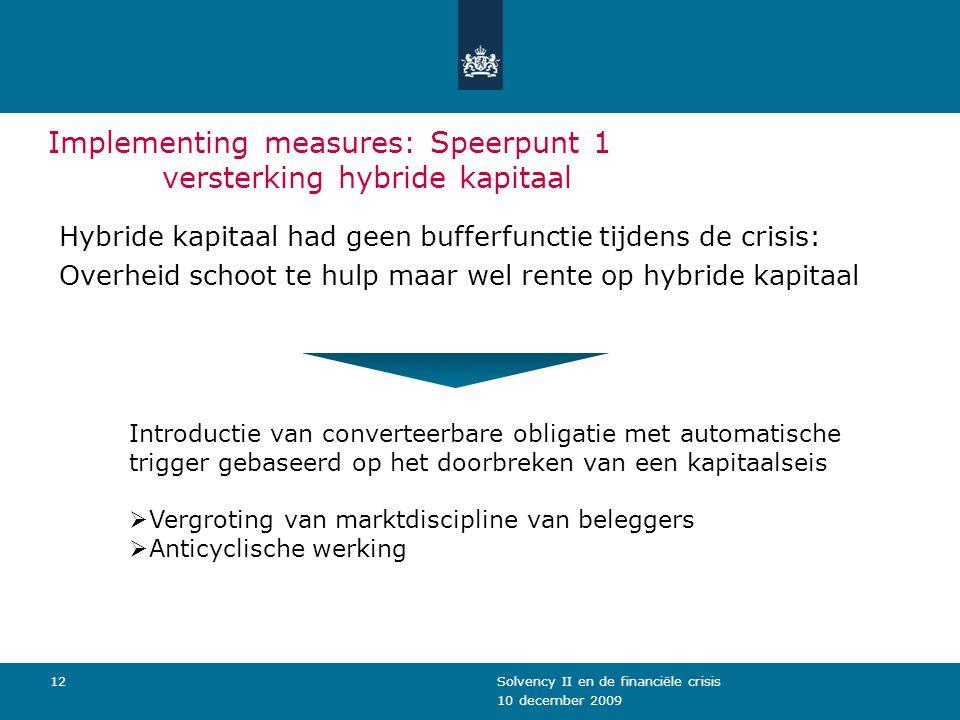 10 december 2009 Solvency II en de financiële crisis12 Implementing measures: Speerpunt 1 versterking hybride kapitaal Hybride kapitaal had geen buffe