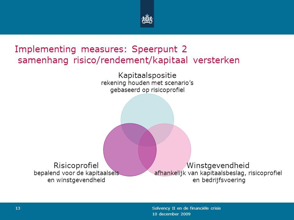 10 december 2009 Solvency II en de financiële crisis13 Implementing measures: Speerpunt 2 samenhang risico/rendement/kapitaal versterken Kapitaalsposi