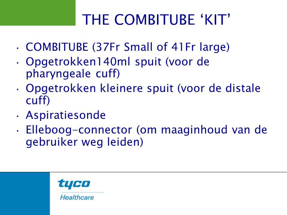 COMBITUBE (37Fr Small of 41Fr large) Opgetrokken140ml spuit (voor de pharyngeale cuff) Opgetrokken kleinere spuit (voor de distale cuff) Aspiratiesond