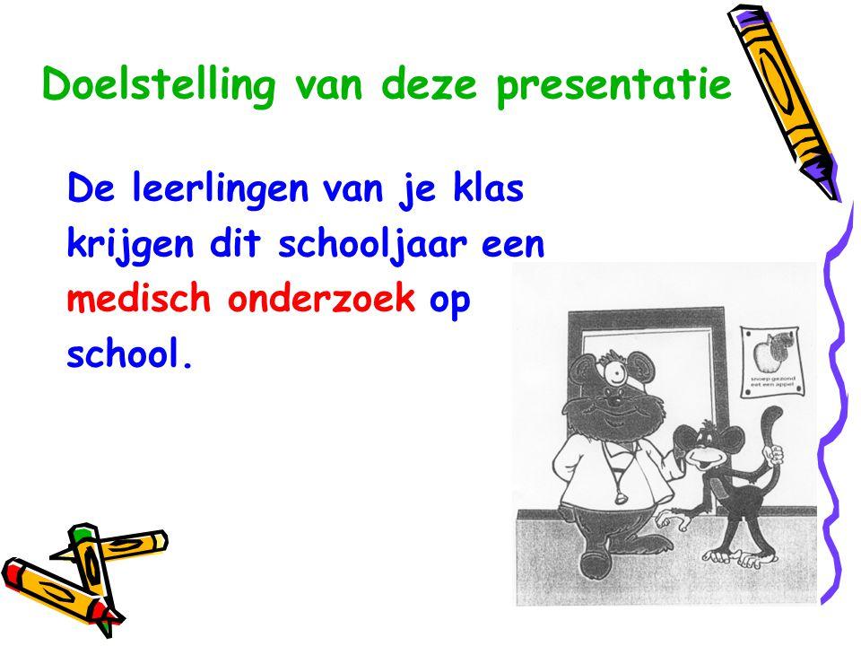 Doelstelling van deze presentatie De leerlingen van je klas krijgen dit schooljaar een medisch onderzoek op school.