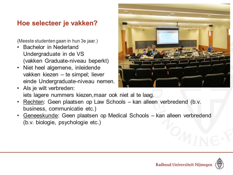 Hoe selecteer je vakken? (Meeste studenten gaan in hun 3e jaar.) Bachelor in Nederland Undergraduate in de VS (vakken Graduate-niveau beperkt) Niet he