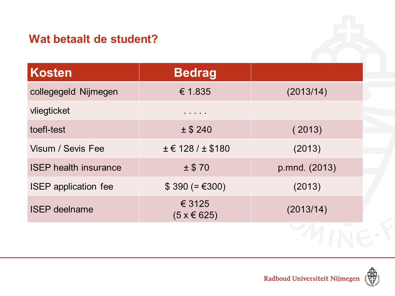 Wat betaalt de student? KostenBedrag collegegeld Nijmegen€ 1.835(2013/14) vliegticket..... toefl-test ± $ 240( 2013) Visum / Sevis Fee ± € 128 / ± $18