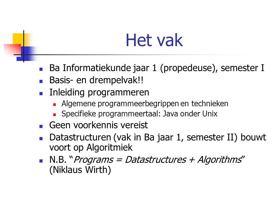 Het vak Ba Informatiekunde jaar 1 (propedeuse), semester I Basis- en drempelvak!! Inleiding programmeren Algemene programmeerbegrippen en technieken S