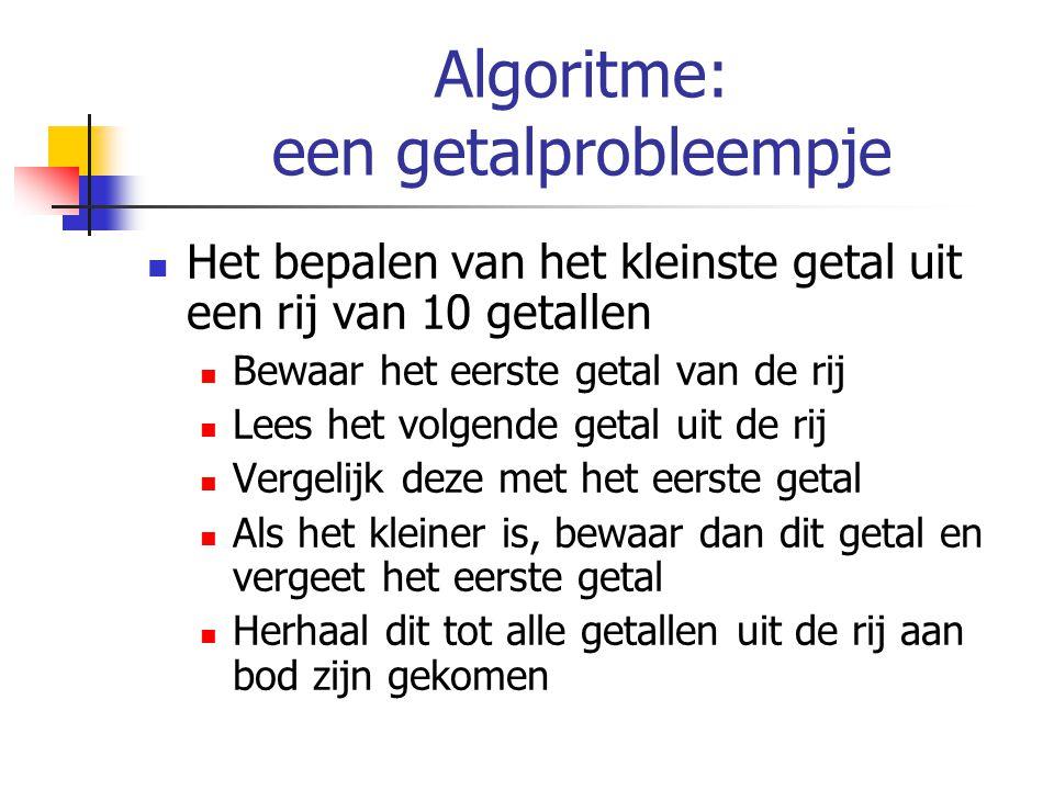 Algoritme: een getalprobleempje Het bepalen van het kleinste getal uit een rij van 10 getallen Bewaar het eerste getal van de rij Lees het volgende ge