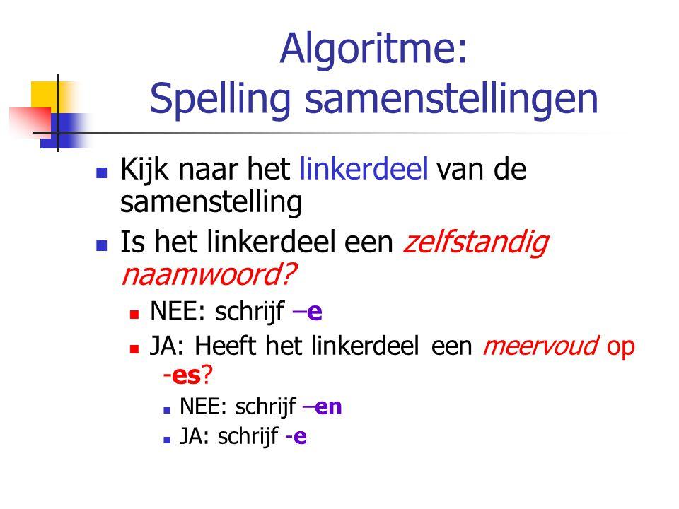 Algoritme: Spelling samenstellingen Kijk naar het linkerdeel van de samenstelling Is het linkerdeel een zelfstandig naamwoord? NEE: schrijf –e JA: Hee