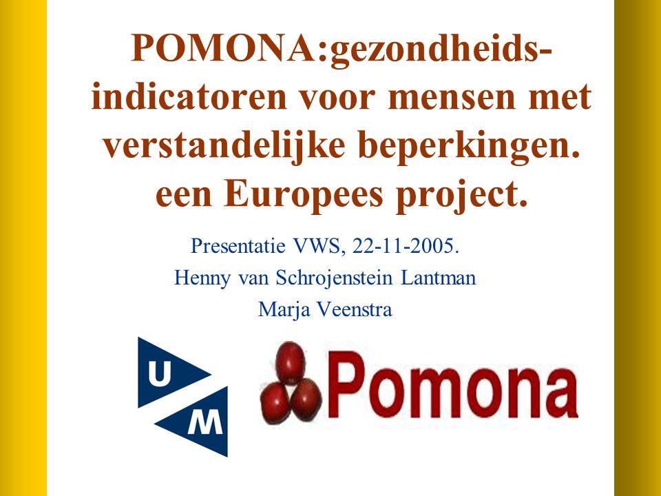 Inhoud van de presentatie Gezondheidsverschillen Twee Pomona-projecten Gezondheidsindicatoren Indicatoren in dit project Indicatoren op micro- en macroniveau Discussie