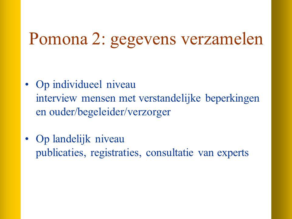 Pomona 2: gegevens verzamelen Op individueel niveau interview mensen met verstandelijke beperkingen en ouder/begeleider/verzorger Op landelijk niveau publicaties, registraties, consultatie van experts