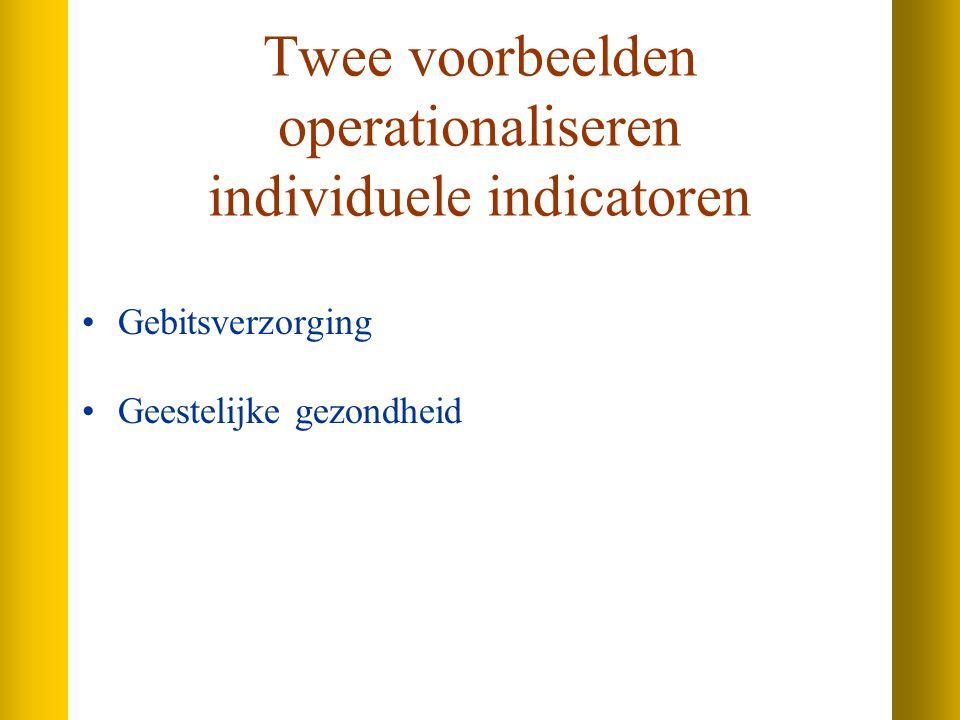 Twee voorbeelden operationaliseren individuele indicatoren Gebitsverzorging Geestelijke gezondheid