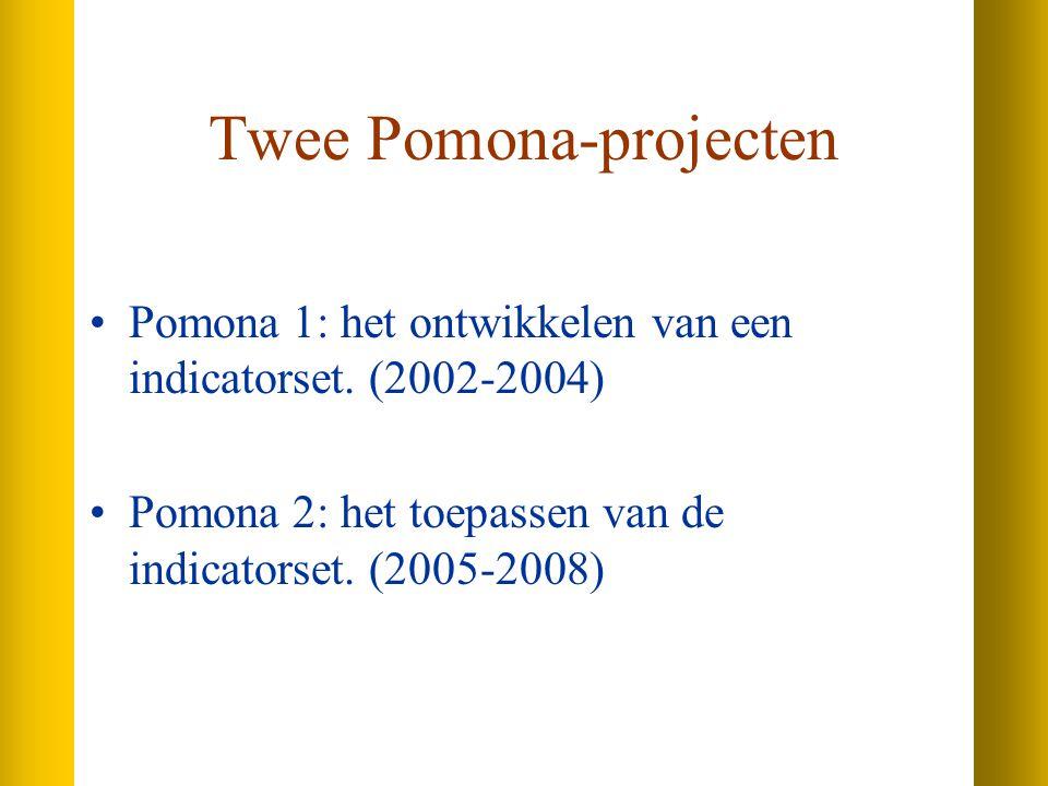Twee Pomona-projecten Pomona 1: het ontwikkelen van een indicatorset.